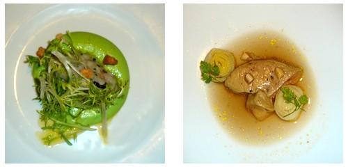 Crema de guisantes con bacalao  &  Foie sobre caldo thai
