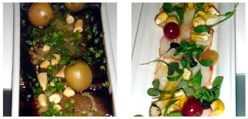 Berenjena escalivada con piñones  &  Ceviche de bogavante