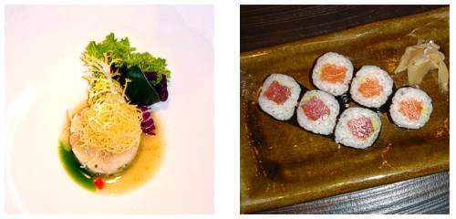 Tartar de vieiras  &  Makis de atún y salmón
