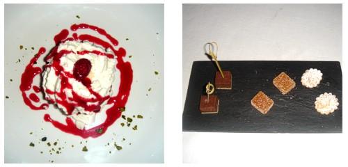 Helados de vainilla y frambuesa con nata  &  Petit-fours