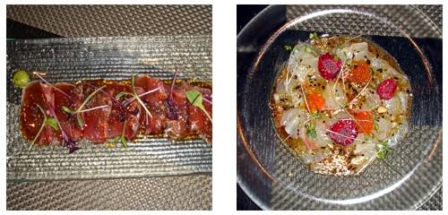 Sashimi de atún con soja  &  Ceviche de dorada