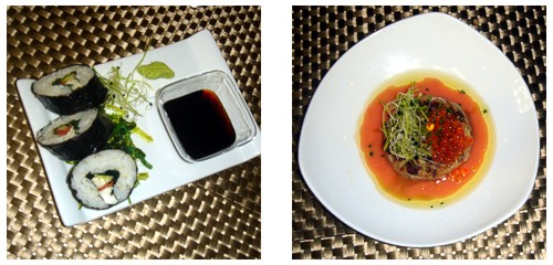 Sushi de tomate  &  Hamburguesa de atún rojo