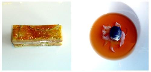 Milhojas de anguila y foie  &  Ravioli de chipirón