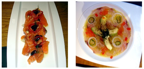 Ensalada de salmón y espárragos  &  Tiradito de mero