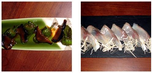 Pimientos de Padrón con shitake  &  Sashimi de pescado blanco