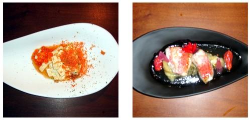 Ensalada de tofu con salmón  &  Salmonetes con cebolla