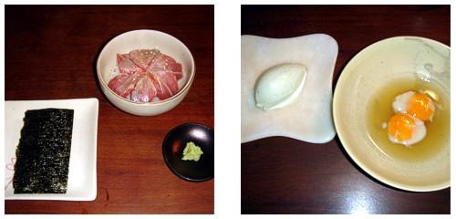 Makis de toro  &  Huevos de codorniz con helado de pandan