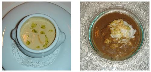Crema de coliflor  &  Setas con huevo nube