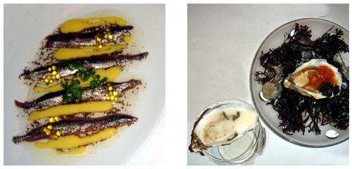 Anchoas trufadas  &  Dúo de ostras
