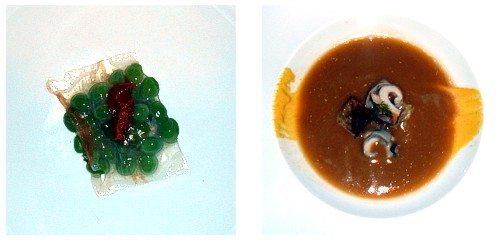 Ravioli de panceta y guisantes  &  Sopa de galeras