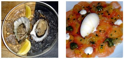 Ostras del Eo  &  Carpaccio de salmón con cítricos
