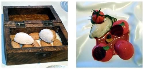 Almendra helada  &  Ostra con tomate y remolacha