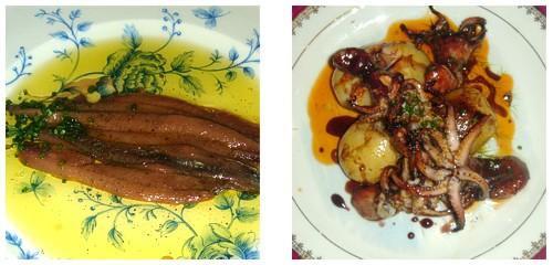 Anchoas de Santoña  &  Pulpitos con patatas