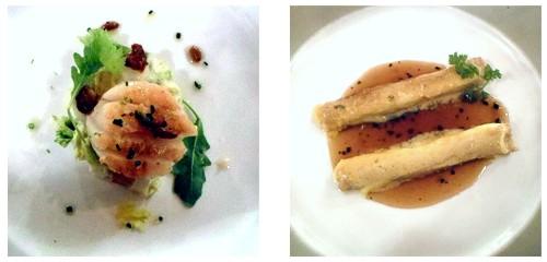 Vieira con ensalada Waldorf  &  Canelones de pollo