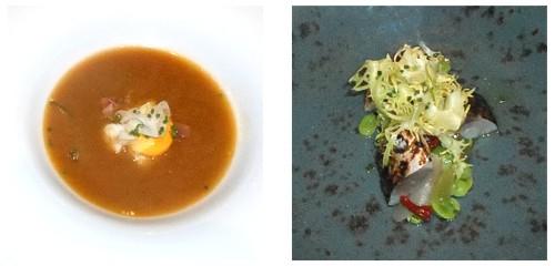 Sopa de pescado de roca  &  Caballa con habitas