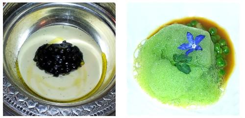 Manduquinha con caviar de sagú  &  Guisantes con calamar de potera