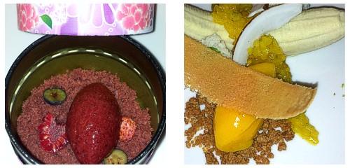 Bizcocho con frutos rojos  &  Plátano, mango y nuez moscada