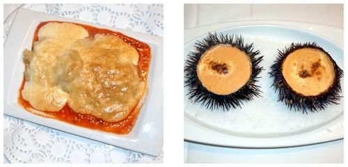 Cocochas de bacalao  &  Erizos gratinados