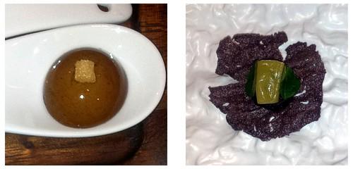Bombón de paté  &  Galleta de arroz con brandada negra