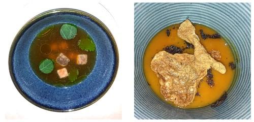 Caldo de jengibre con anguila  &  Suprema de trufa y yema
