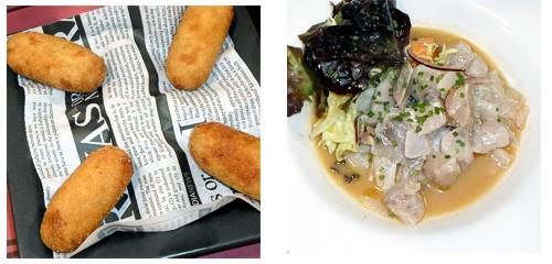 Croquetas de pollo  &  Ceviche de lubina
