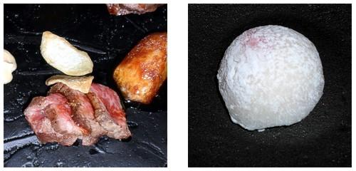 Wagyu con foie  &  Mochi de nata y fresa