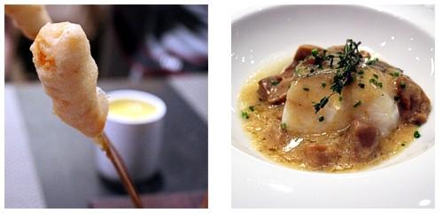 Langostinos en tempura  &  Bacalao al pil-pil