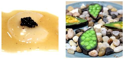 Vieira con tuétano y caviar  &  Guisantes y mejillones en salsa verde