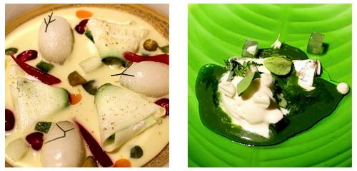 Sopa de pistachos  &  Ajoblanco helado