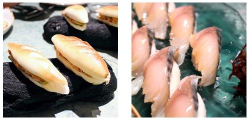 Bocadillo de mariscos  &  Nigiris de caballa