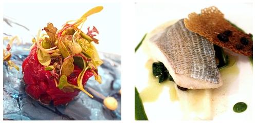 Tartar de atún rojo  &  Lubina con espinacas